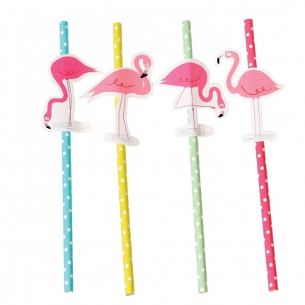 Papperssugrör Flamingo 4-Pack