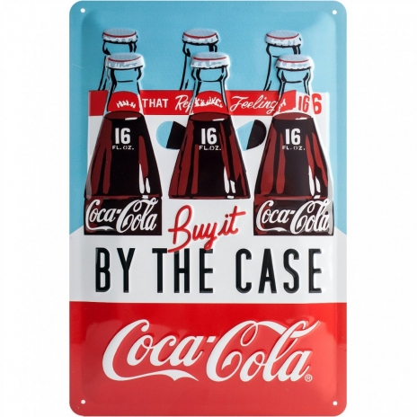 Plåtskylt 'Coca Cola By The Case' 20x30 cm
