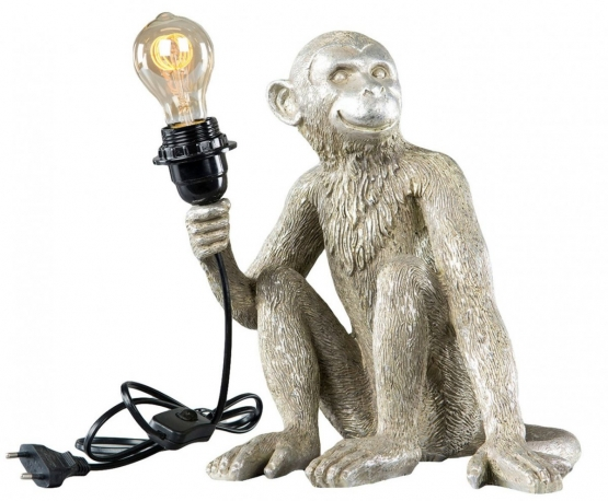 Monkey Lamp Sittande Champagne/Silver