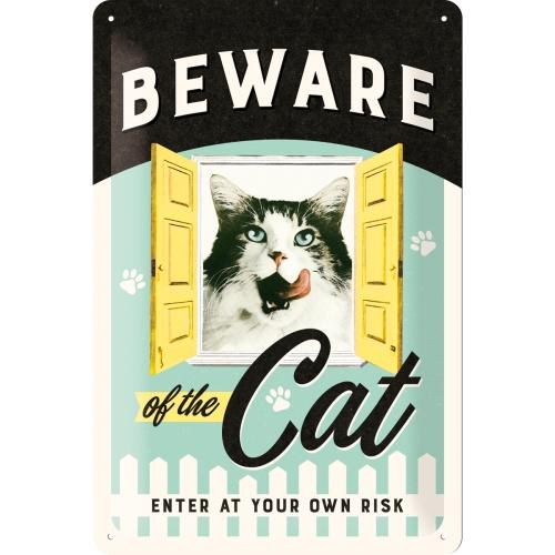 Plåtskylt 'Beware Of The Cat' 20x30cm