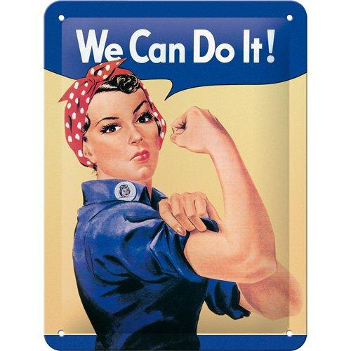 Plåtskylt 'We Can Do It!' 15x20cm